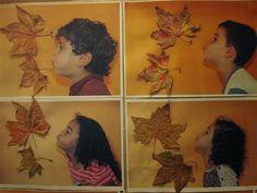 BUFANT! Material: fotografia, paper, fulles de tardor, cola  Nivell: Infantil… Autumn Crafts, Fall Crafts For Kids, Autumn Art, Nature Crafts, Diy For Kids, Halloween Activities, Autumn Activities, Art Activities, Fall Art Projects