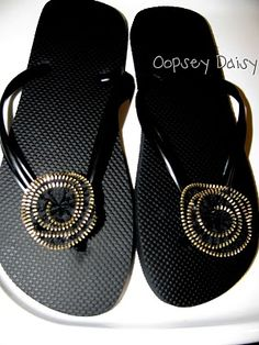 Zipper Flower Flip Flops