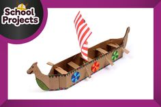This how to make a Viking longboat wouldn't fare well at sea, but comes complete with seats and oars so your little Vikings can paddle their way to battle.