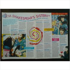 Bananarama. - Shakespears Sister. Dickens Aunt 2 page feature Smash Hits Mag