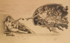Original Paintings from Michelangelo, my  drawing of the creation of adam- but this time with eva:-)
