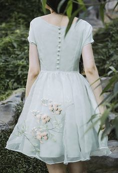 L'amant collection vintage style light green organza princess dress with flower embroidery- Purple Fish Bowl