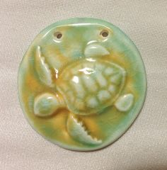 Underwater Sea Turtle Colorful Ceramic Pendant by SlinginMud, $10.75