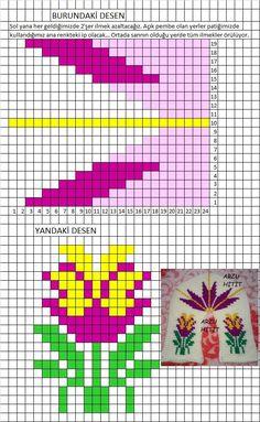 yok - Her Crochet Graph Crochet, Tunisian Crochet Patterns, Tapestry Crochet Patterns, Basic Crochet Stitches, Crochet Slippers, Crochet Basics, Loom Beading, Beading Patterns, Knitting Socks