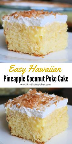 This Easy Hawaiian Pineapple Coconut Poke Cake is so delicious! All you need is a cake mix, crushed pineapple, pudding, whipped cream, and shredded coconut! Cake Mix Desserts, Poke Cake Recipes, Easy Desserts, Delicious Desserts, Light Dessert Recipes, Hawaiian Desserts, Tropical Desserts, Pineapple Desserts, French Vanilla Cake