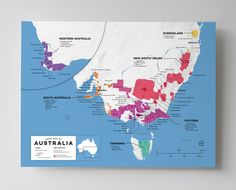 High quality, detailed, and accurate map of major wine appellations in Australia. Available as a poster/print. Designed by experts for display or education. Vivid high contrast color coded reference GIS wine map. - http://shop.winefolly.com/collections/regional-wine-maps/products/australian-wine-regions-map-poster