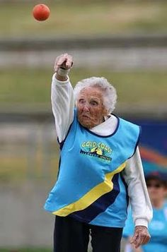 Ruth Frith, 100, world champ in shot put. This will be me in my elderly years. No doubt about it.