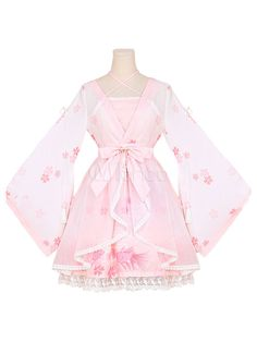 Being the most beautiful Lolita princess, Milanoo Hanfu Lolita Outfits OP One Piece Dress Chiffon Soft Pink Long Sleeve Ruffles Printed Cover Up With JSK Jumper Skirt couples with sweet styles and comfortable materials at affordable prices. Lolita Outfit, Lolita Dress, Lolita Fashion, Lolita Cosplay, Pastel Fashion, Cute Fashion, Fashion Outfits, Women's Fashion, Kawaii Dress