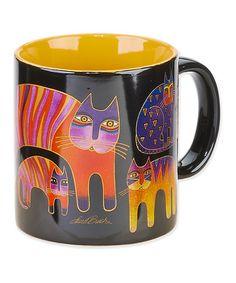 Black & Yellow Fantastic Feline Totem Mug by Laurel Burch #zulilyfinds