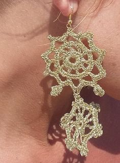 Luxurious Crochet  Earrings Gold Color  with a Golden by knittee