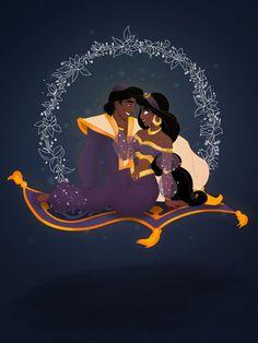 Aladdin, disney, and fanart image Aladdin Et Jasmine, Disney Princess Jasmine, Disney Princess Pictures, Disney Fan Art, Disney Style, Disney Love, Disney Magic, Images Disney, Walt Disney Pictures