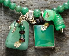 Lelant Green Jade and Chrysoprase necklace