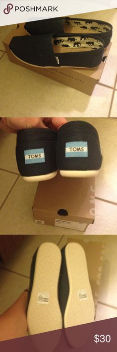 Brand New Navy Toms! Brand new! Never worn navy TOMS! TOMS Shoes Flats & Loafers