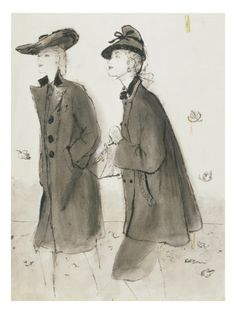 Vogue - September 1942 by René R. Bouché - Chesterfield coat (left) and Vera Maxwell Original (right)