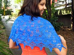 This crescent shaped shawl can be knitted in sock weight (fingering) yarn or in lace weight. The pattern can easily be amended to include a garter stitch or stocking stitch edge at the top, or you can dive right in with the lace. The interconnecting leaves generate recurring waves reminiscent of the ocean, and shiny beads dot the border like light shimmering on the sea.