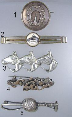 Antique ENGLISH Hallmarked Hunter Rider STERLING Silver HORSE Stock Pin HELMET Crop Whip-hrspins5