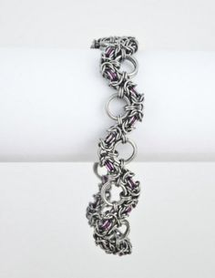 #Chainmaille #Bracelet #Purple #Byzantine Snake by ChainmailleByBim