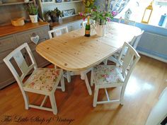 Solid Pine Extendable Kitchen Dining Table and 6 Oak Chairs Shabby Chic ASCP