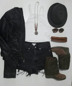 sexy fall outfit for teens in black and brown tones