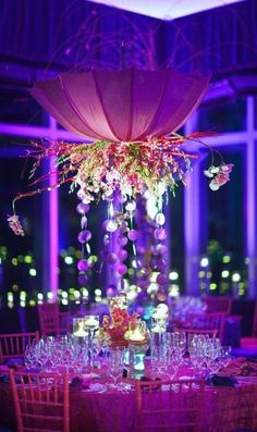Pink umbrella tablescape