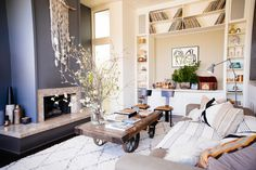 Living room with fireplace and industrial coffee table