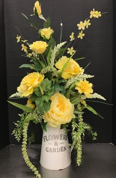 Most people seem to think that flower arrangements should only be used for special occasions, such as an anniversary party, a wedding reception, or something of that nature. But flower arrangements ca Yellow Flower Arrangements, Flower Arrangement Designs, Artificial Flower Arrangements, Beautiful Flower Arrangements, Flower Designs, Flower Ideas, Silk Arrangements, Faux Flowers, Silk Flowers