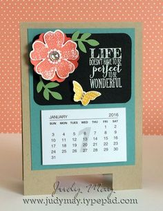 Stampin' Up! Flower Shop and Perfect Pennants 2016 Mini Calendar project - Judy May, Just Judy Designs