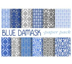 DAMASK DIGITAL PAPER  Blue and Grey Printable by DigitalAlice