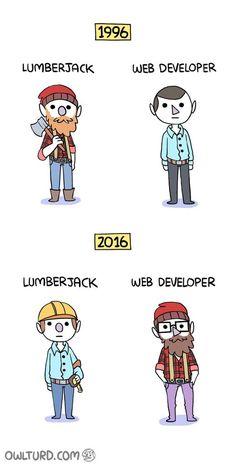 Then vs Now: Lumberjack vs. Web Master (Developer)