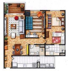 """Plantas e afins (@plantaseafins) no Instagram: """"Planta de um apartamento compacto e ao mesmo tempo fofíssimo! Apenas uma suite com closet, um…"""""""