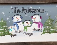15 Personalized Hand painted Snowman Family Sign by 213Designs