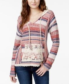 American Rag Striped Crochet-Trim Hoodie Sweater, Only at Macy's - Red XL