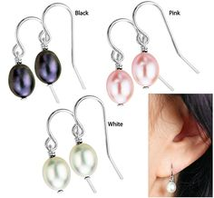 """$14.95 or 3/$25.00--""""Freshwater Pearl Drop Earrings""""...Why stop with just one pair? Choose a single pair of Black, White, or Pink earrings, or choose a Set of all 3 (black, white and pink)...Pearl & sterling hooks...Pearls: apprx 8 mm L x 6 mm  ...Imported...These freshwater cultured pearls are produced in pearl farms from large clams that live up to 7 years. Pearls sacs are harvested every two years without killing the clams."""