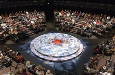 The arena seating and set for Macbeth, directed by Libby Appel, which was the opening performance in the Thomas Theatre.