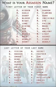 What's You're Assasin name?  Mine is Hidden Saber!