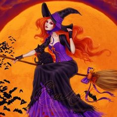 Beautiful red haired witch