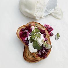 Glazed-Beet-and-Burrata Toasts | Food & Wine