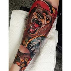 Neo-traditional bear by Johnny Domus JohnnyDomus neotraditional traditional bear grizzlybear Traditional Bear Tattoo, Traditional Tattoo Old School, Traditional Sleeve, Bible Tattoos, Body Art Tattoos, Sleeve Tattoos, Tattoo Ink, Forearm Tattoo Design, Tribal Tattoo Designs