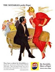 Pepsi-Cola Sofa Couch The Sociables Prefer Pepsi - Mad Men Art: The 1891-1970 Vintage Advertisement Art Collection