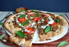 Middle Eastern Vegetarian Pizza with Minted Tahini Sauce, recipe; armenian + middle eastern food