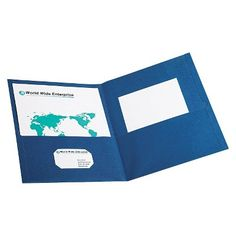 0a83702a2868 Oxford Twin-Pocket Portfolio with Embossed Leather Grain Paper - Blue (Box  of 25