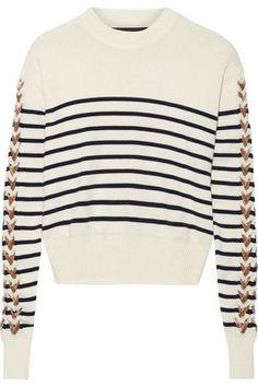 Y/PROJECT | Velvet-trimmed striped merino wool sweater | NET-A-PORTER.COM