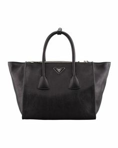 Glace+Calf+Twin+Pocket+Tote+Bag,+Black+by+Prada+at+Neiman+Marcus.