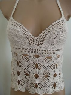 Crochet bustier of hand knitted lace от Lalerosso на Etsy