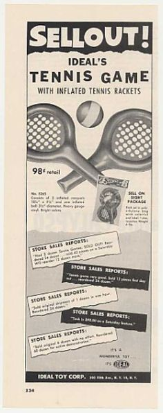Ideal Toys Inflated Tennis Game Toy (1955)