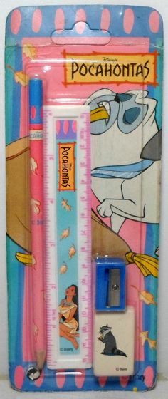 "i didn't have this exact one, but i remember how i excited i always got whenever my mother bought one of those packages that had all sorts of ""goodies"" like erasers, ruler, pencils etc. 90s Childhood, My Childhood Memories, Throwback Day, Disney Pocahontas, Walt Disney, 1990s Nostalgia, Vintage Lunch Boxes, School Accessories, 90s Toys"