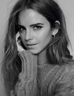 awesome Emma Watson Epic B/W Headshot, cableknit sweater • /r/gentlemanboners
