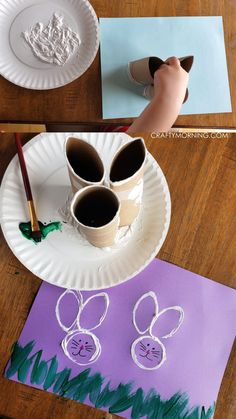 Toilet Paper Roll Bunny Stamps- fun easter craft for kids to make. Fun easter art project to make for toddlers preschoolers etc. crafts for toddlers Toilet Paper Roll Bunny Stamps Easter art Easter Arts And Crafts, Easter Crafts For Toddlers, Spring Crafts For Kids, Bunny Crafts, Crafts For Kids To Make, Preschool Crafts, Egg Crafts, Easter Activities For Children, Fun For Kids