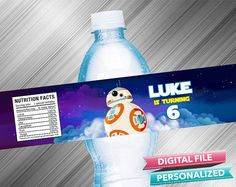 BB8 Water Bottle Label by kidspartydiy on Etsy