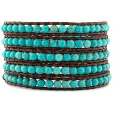 Chan Luu Turquoise Wrap Bracelet on Brown Leather $190.00
